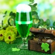 Glass of green beer and pitcher with coins on grass close-up — Stock Photo
