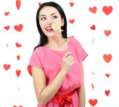 Attractive young woman on Valentine Day — Stock Photo