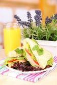 Fresh and tasty sandwiches on plate on table on light background — Stock Photo