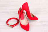 Beautiful red female shoes and belt — Stock Photo