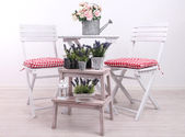 Garden chairs and table with flowers on wooden stand on white background — Stock Photo