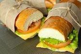čerstvé a chutné sendviče zblízka — Stock fotografie