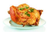 Pečené kuře s petrželkou, izolované na bílém — Stock fotografie