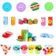 Stock Photo: Colorful buttons isolated on white