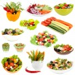 Stock Photo: Collage of vegetable salads isolated on white