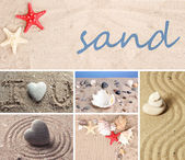 Collage of zen garden with sand and stones — Stock Photo
