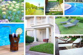 Collage with different photos of luxury touristic hotel — Foto de Stock