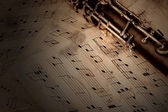 Nota ve klarnet ahşap tablo — Stok fotoğraf