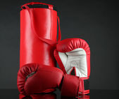 Boxing gloves and punching bag, isolated on black — Stock Photo