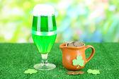 Copo de cerveja verde e jarra com moedas na grama na base natural — Fotografia Stock