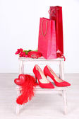 Beautiful red female accessories — Стоковое фото