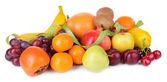 Assortment of exotic fruits isolated on white — Stock Photo