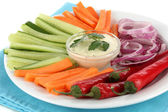 Assorted raw vegetables sticks in plate close up — Stock Photo