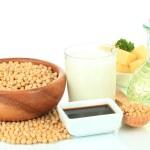 produtos de soja, isolados no branco — Foto Stock