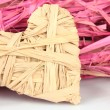 Stock Photo: Decorative straw for hand made and heart of straw, isolated on white