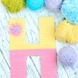 One letter of knit handmade alphabet close up — Stock Photo #39503795