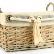 Stock Photo: Empty wicker basket isolated on white