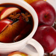 Stock Photo: Fragrant mulled wine in bowl on wooden table close-up