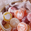 Sweet candies in metal can, close up — Stock Photo