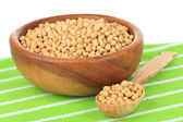 Soy beans on table on white background — Stock Photo