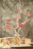 Decorative branch with hearts, on grey background — Foto de Stock