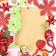 Frame with vintage paper and Christmas decorations close up — Stockfoto