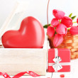 Romantic still life with heart in wooden casket — Stock Photo #39531935
