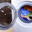 Stock Photo: Washing machine loaded with clothes close-up