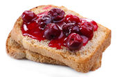 Delicious toast with jam isolated on white — Stock Photo