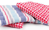 Squared pillows isolated on white — Stock Photo