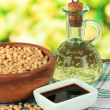 Soy products on table on bright background — Foto Stock