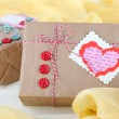 Paper gift boxes on wooden background — Stock Photo #39547809