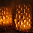 Stock Photo: Home decor, candle lights on table