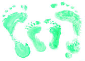 Footprint, close up, isolated in white — Stock Photo