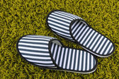 Striped slippers on carpet background — Stock Photo