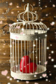 Heart in decorative cage on wooden background — Stock Photo