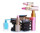 Nieuwe make-up set geïsoleerd op wit — Stockfoto