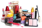 Novo conjunto de maquiagem isolado no branco — Foto Stock