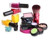 New makeup set isolated on white — Stock Photo