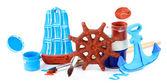 Handgefertigte keramik spielzeug und farbe farben isoliert auf weiss — Stockfoto
