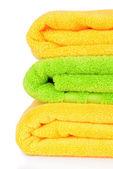 Brilhantes toalhas isoladas no branco — Foto Stock