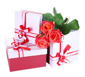 Beautiful gift boxes with flowers isolated on white — Foto de Stock