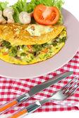 Omelet with mushrooms closeup — Stockfoto