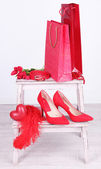 Beautiful red female accessories — Foto de Stock