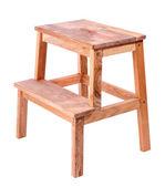 Piccola scala in legno, isolato su bianco — Foto Stock
