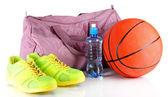 白で隔離されるスポーツ用品スポーツ バッグ — ストック写真
