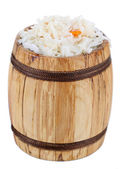 Marinated cabbage (sauerkraut), in wooden barrel, isolated on white — Stock Photo