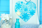 Beautiful home decor with handmade picture — Stock Photo