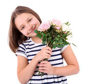 Beautiful little girl with flowers in her hand, isolated on white — Stock Photo