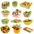Stock Photo: Collage of different salads isolated on white